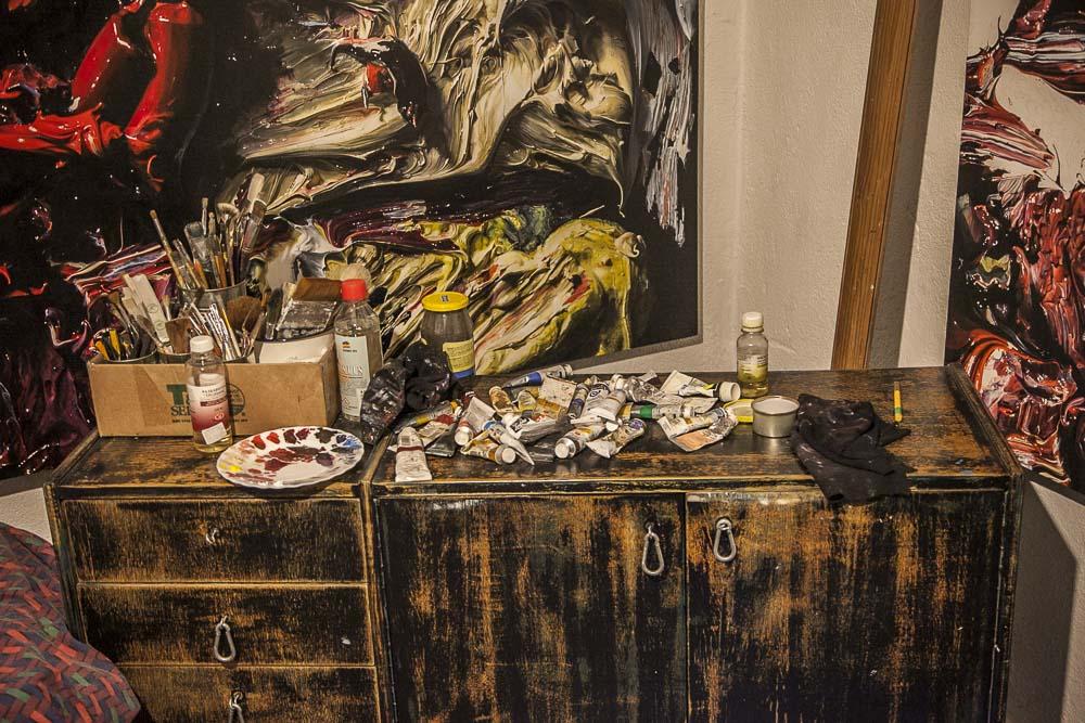 Katrin Piilin työtila Metropol galleriassa